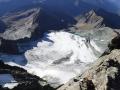 Widok z grani na lodowiec Kodnitzkees, droga zejścia za szczytu do schroniska Studlhutte.